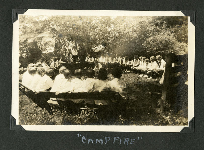 """Campfire"" 1930-31. Marion Mooney Camp Grey Rocks scrapbook."