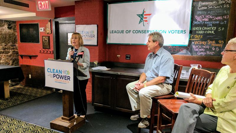 U.S. Senator Maggie Hassan, Portsmouth Mayor Jack Blalock, and former EPA head Gina McCarthy spoke at the event