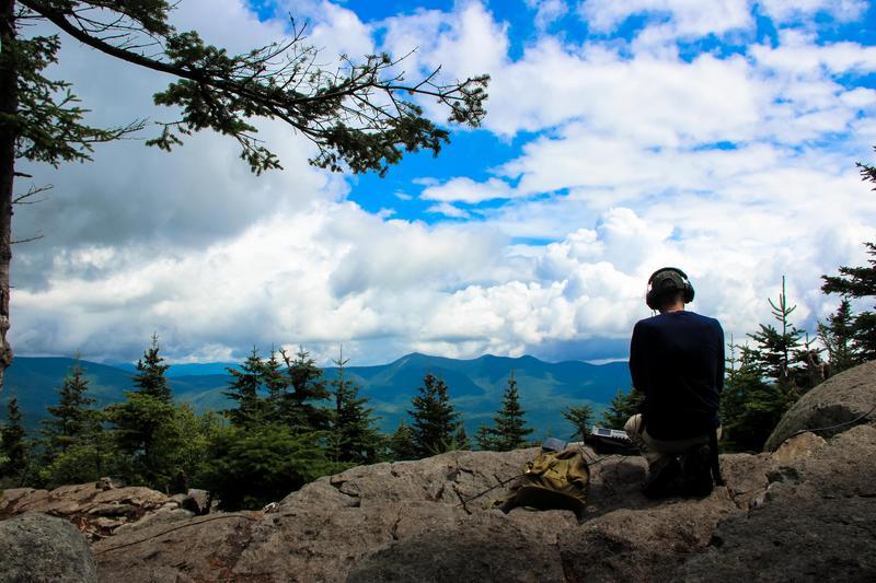 Steve Wilkes recording on the summit of Mt. Tecumseh