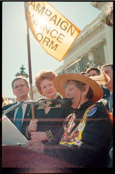"""Doris """"Granny D"""" Haddock speaks outside the U.S. Capitol after her walk from Los Angeles to Washington, D.C. in support of campaign finance reform."""