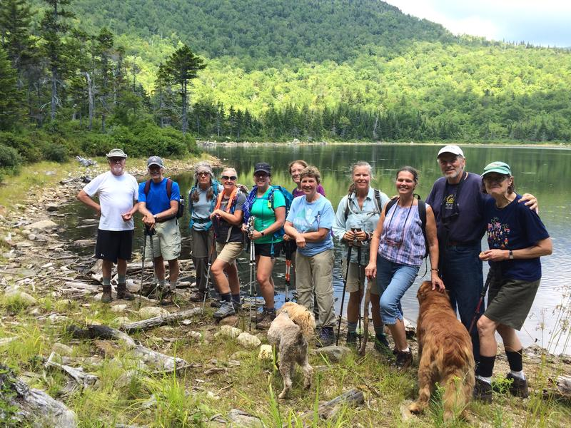 The group included a few additional hikers that turned around at some point during the 8 mile round trip hike.  Those present from L to R are: Dick, Peter, Jane, Deb, Tracy, Nancy (in back), Shirley, PJ, Peggy, Mark, and Jean, as we all posed following a