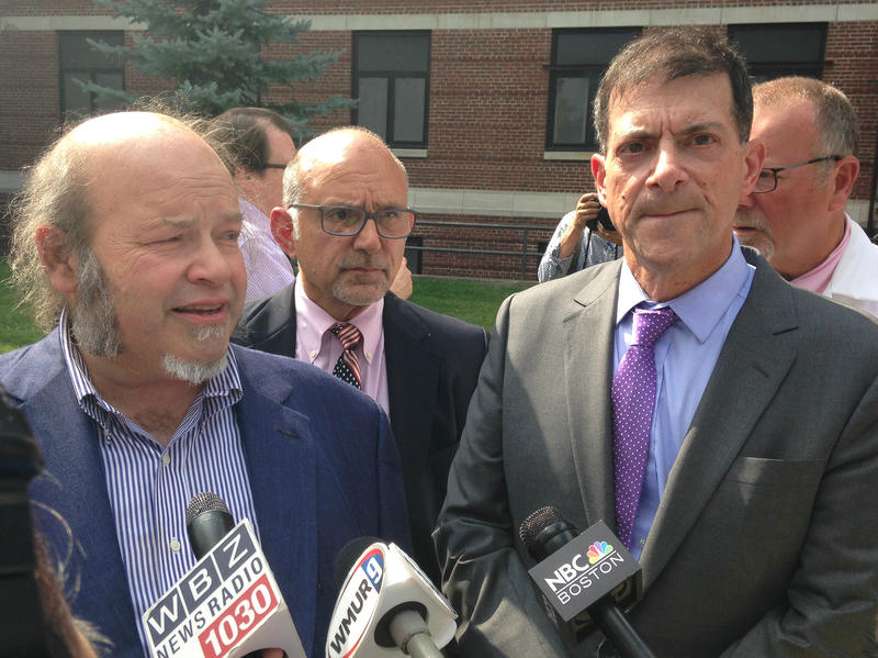 Dr. Ed Kois (left) and Dr. Stewart Levenson (right) speak at a press conference at the Manchester VA on Friday, August 4, 2017.