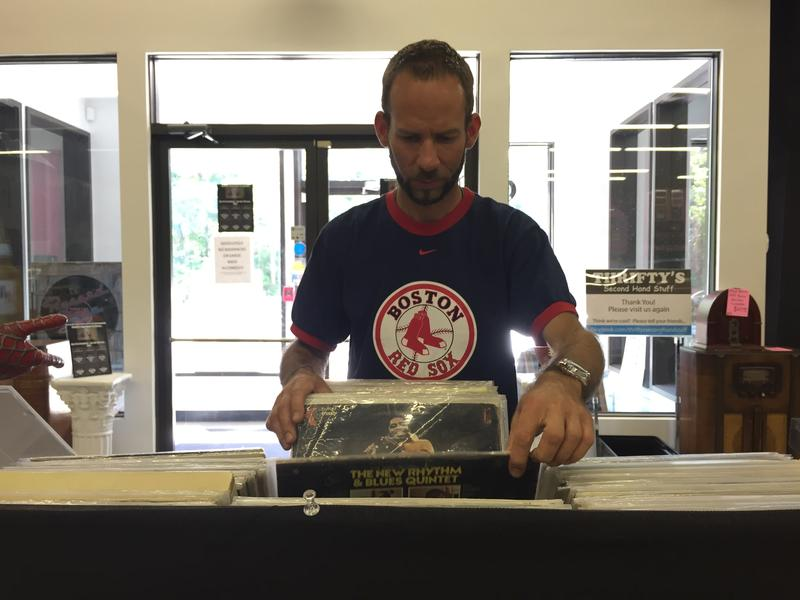 Chris Gendron of Manchester searches for a Black Sabbath record.