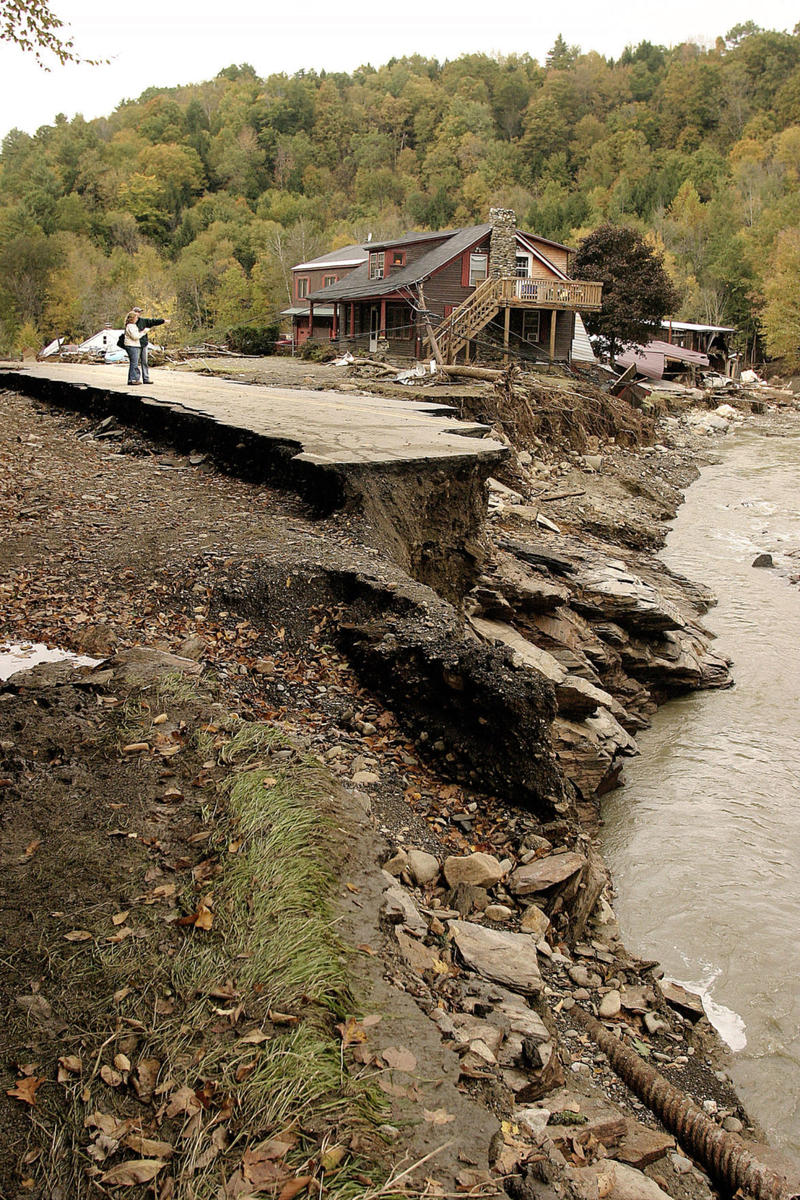 Damage caused by flood in Alstead in 2005