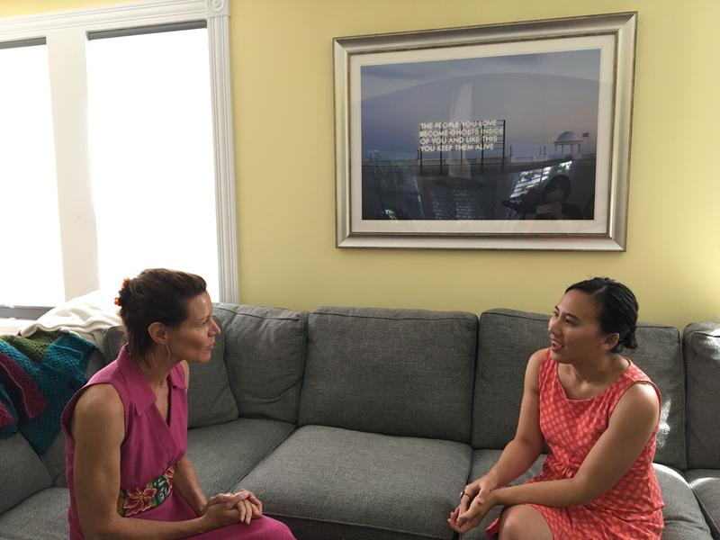 Host Virginia Prescott talks with Celeste Ng in her home.