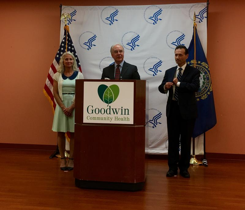 Goodwin Community Health CEO Janet Laatsch is joined by HHS Secretary Tom Price and Health Resources and Service Administration Administrator George Sigounas.