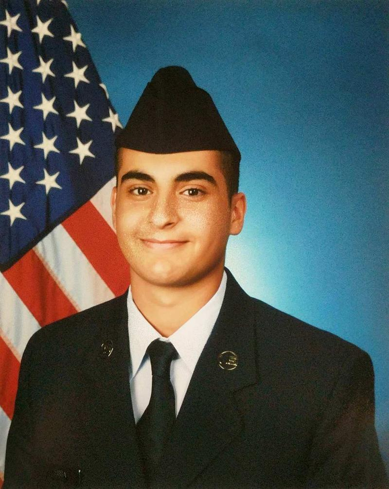 A photo of Essa right before he graduated from basic training for the N.H. Air National Guard.