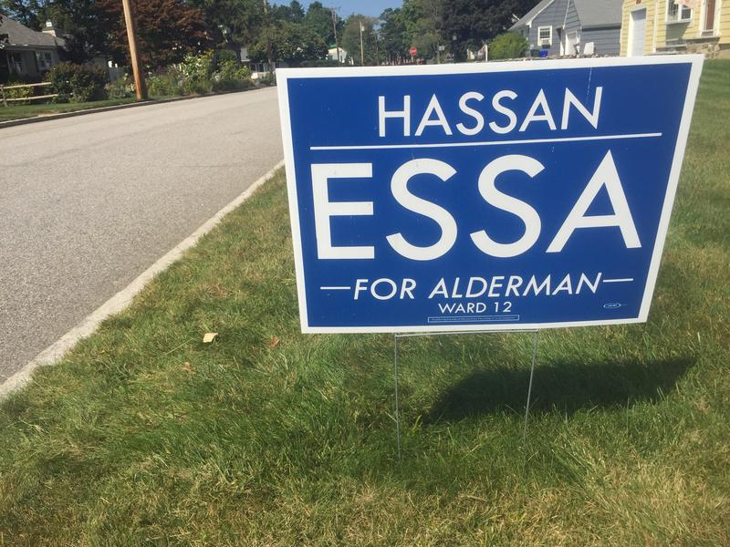 Signs for Hassan Essa's campaign can be found on nearly every street of Ward 12.
