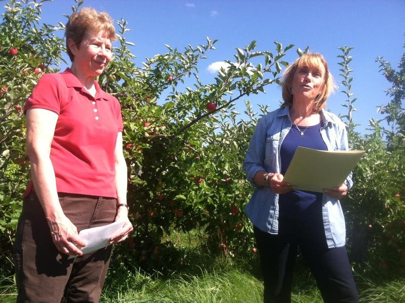 Lorraine Merrill, commissioner of the Department of Agriculture, stands next to then Governor Maggie Hassan as she reads a proclamation regarding New Hampshire Apple Day in 2014.