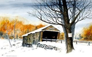 Conrad Young, a watercolor artist from Concord, says his favorite covered bridge painting is of the Dalton in Warner, NH.
