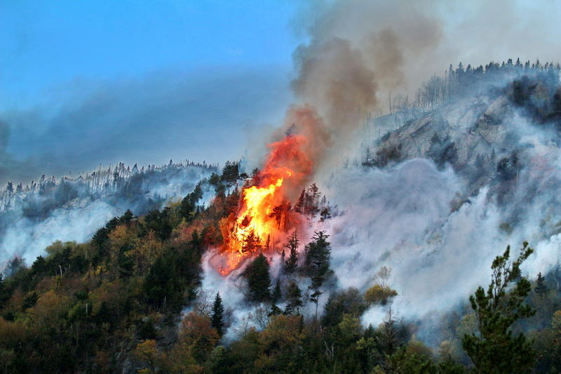The Dilly Cliff forest fire in North Woodstock on day four.