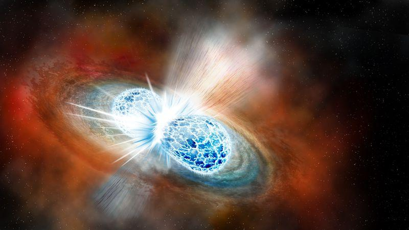 A rendering of the neutron star merger at the moment of impact.