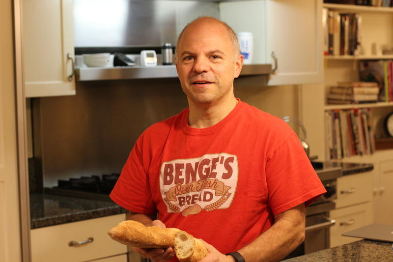 Benge Ambrogi, owner of Benge's Bread, in his kitchen in Manchester, N.H.