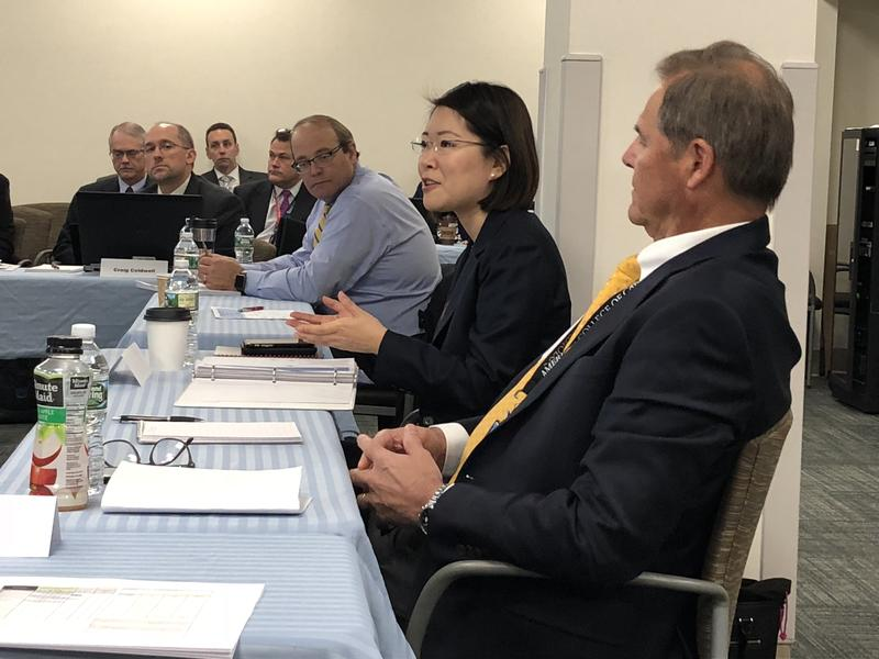 Dr. Jennifer Lee (center) speaks at the VA New Hampshire Vision 2025 Task Force meeting at the Manchester VA on Tuesday, October 31, 2017.