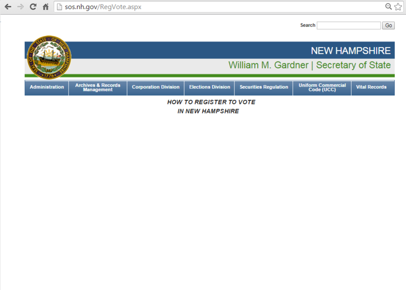 Several pages purporting to contain registration information were missing on the state website