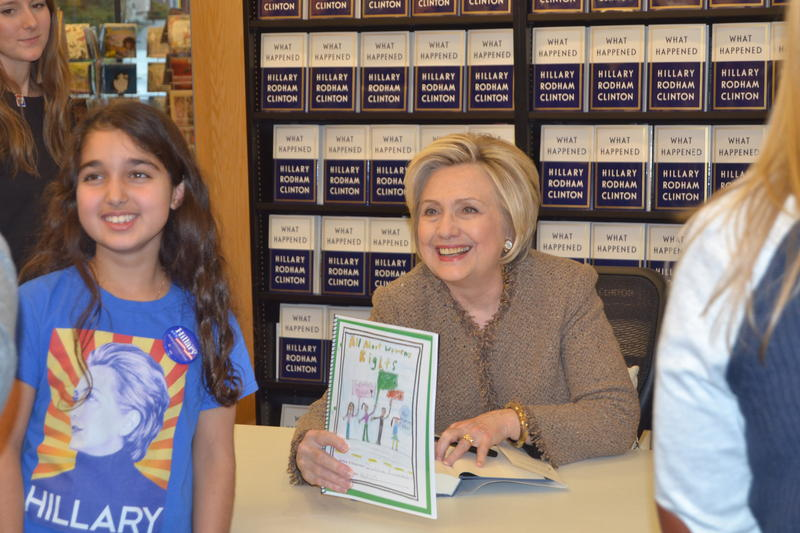 "Hillary Clinton signed copies of her new book, ""What Happened,"" at Gibson's Bookstore Tuesday, Dec. 5, 2017."