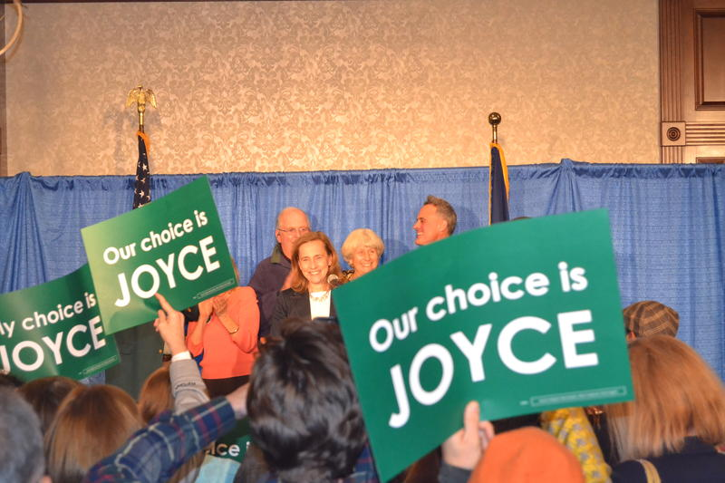 Joyce Craig giving a victory speech after beating Mayor Ted Gatsas in November.