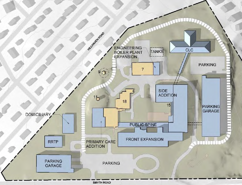 One of several options for the future of the Manchester VA drawn up by Ernest Bland Associates and presented to the VA New Hampshire VISION 2025 Task Force.