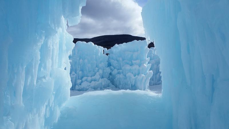 The super structure is all ice at the Ice Castles.