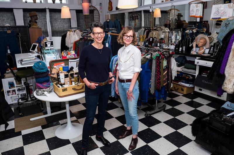Betty Egan and Barbara Williams run Black Sheep Provisions vintage clothing shop in Littleton, New Hampshire