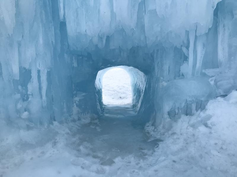 The ice castles are located in Lincoln, not far from I-93.