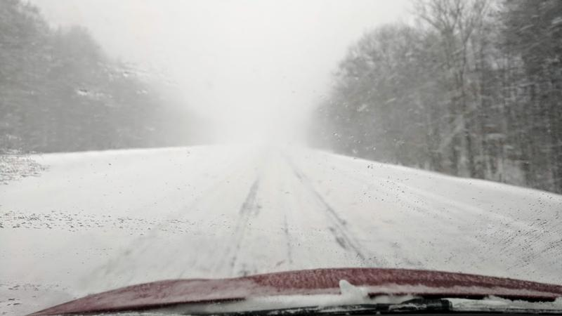 Roads are blustery on Route 16 between Rochester and Dover
