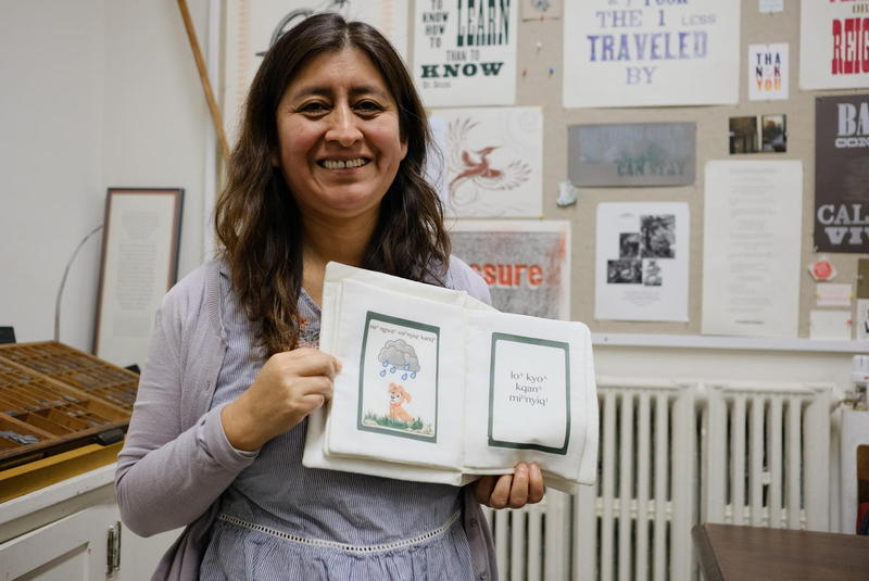 Hilaria Cruz, a postdoctoral fellow at Dartmouth College, is teaching a course this semester on language revitalization. She worked with students to print books in indigenous languages, with no English translation, aimed at young children.