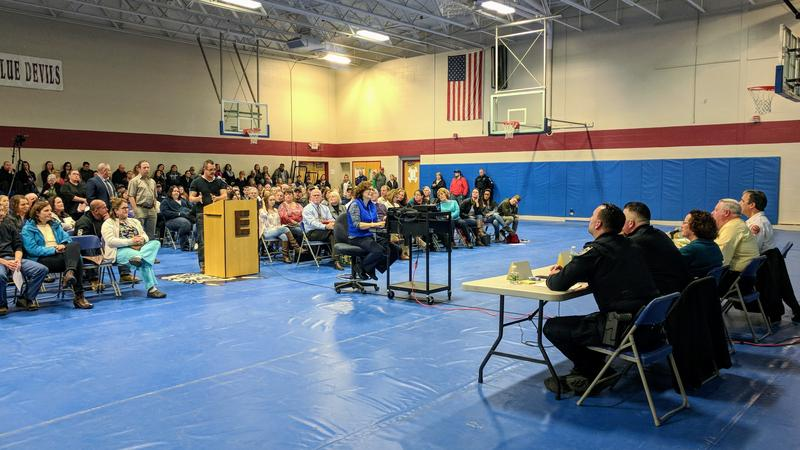 Epping held a forum at the school about safety following a threat at the school, and a week after a mass shooting at a school in Florida.