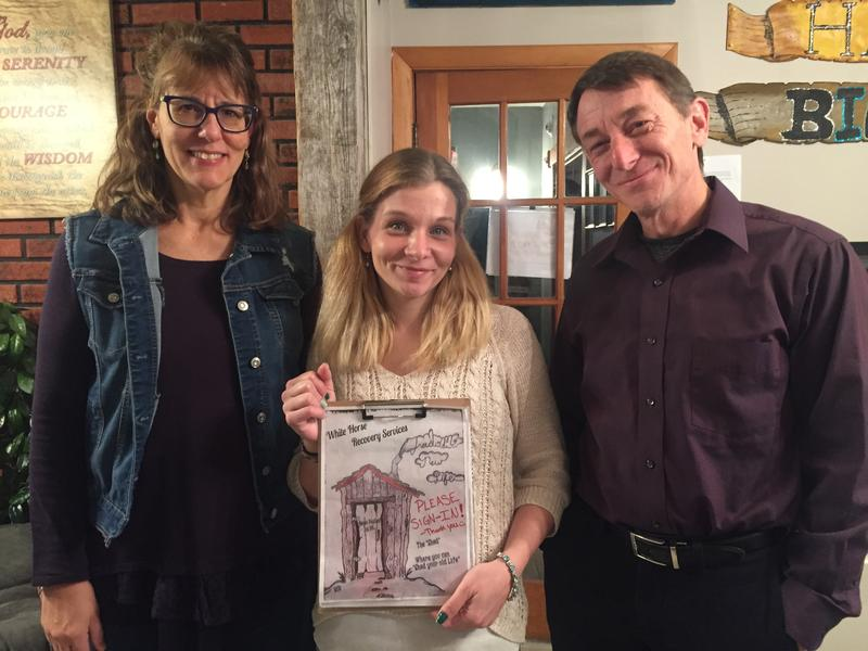 "Yvonne Meisner (left), Kris Farrell (center), and Eric Moran (right) hanging at ""The Shed"" in Ossipee. The only drug recovery center of its kind in Carroll County."