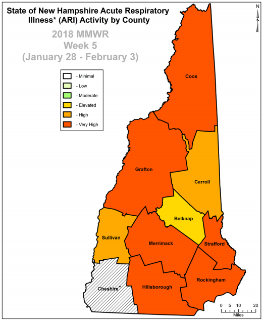 This map shows the severity of the flu and other respiratory illnesses across New Hampshire.