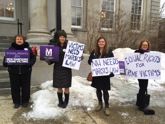 Supporters of Marsy's Law for N.H. outside the Statehouse on the day of a Senate Judiciary Committee hearing.