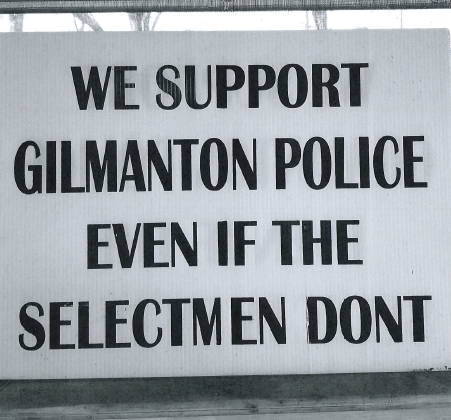 The town of Gilmanton recently warned residents who displayed these signs that they were violating local zoning rules and, potentially, state political advertising disclosure laws.