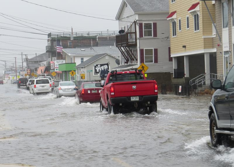 This stretch of road in Hampton Beach, behind the Casino Ballroom, was closed late Friday morning.