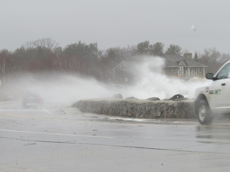 High winds and approaching high tide sent surf flying over Route 1a/Ocean Boulevard in North Hampton on Friday morning.