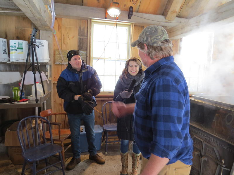 Rick Ganley and producer Mary McIntyre get a sweet lesson in sugaring from Dave Anderson