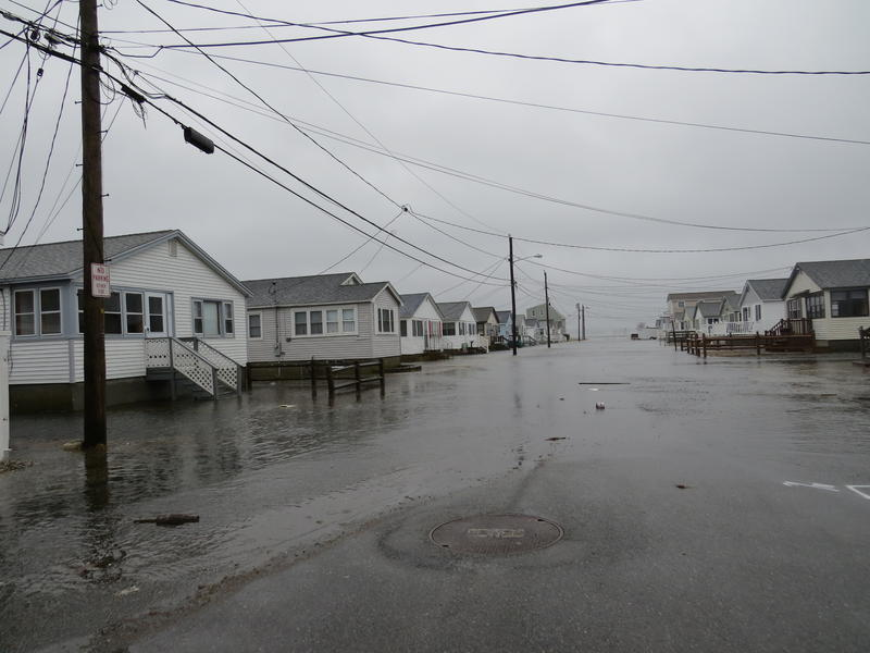A street in Hampton Beach closed due to flooding