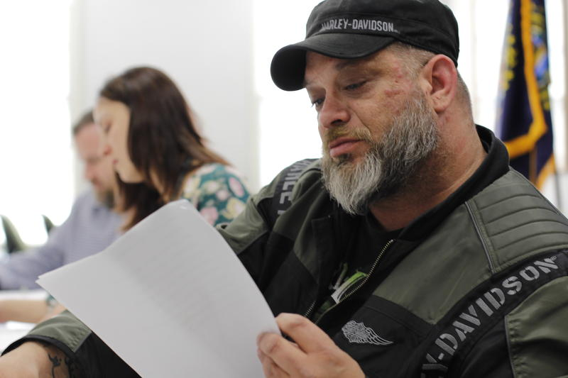 "Veteran Sean Carrier, reading from a script for a part in the play, ""Make Sure It's Me."""