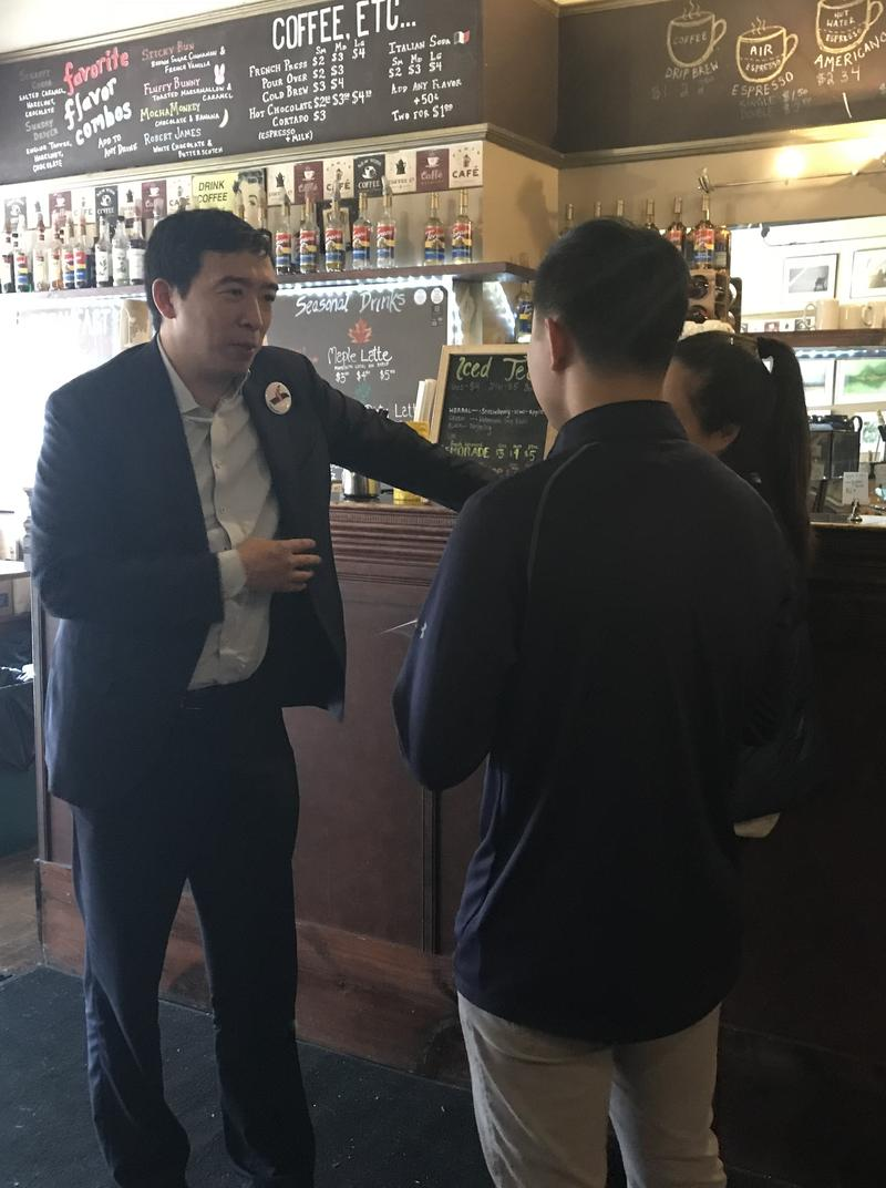 2020 long shot presidential candidate Andrew Yang talks about Universal Basic Income at True Brue Barista in Concord.