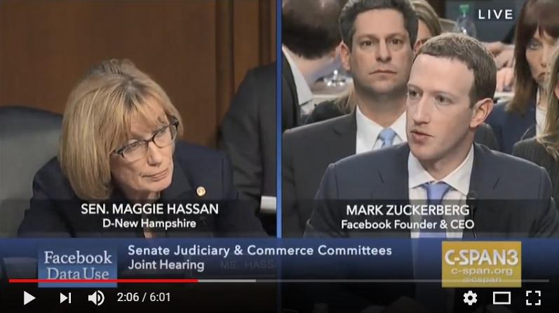 Sen. Maggie Hassan questions Facebook CEO Mark Zuckerberg Tuesday