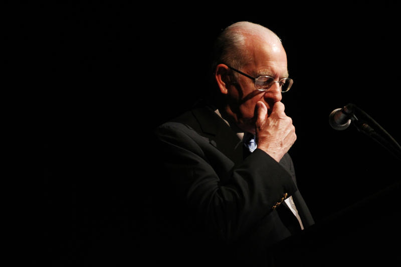 Carl Kasell in front of an audience of NHPR listeners at SNHU in 2011.