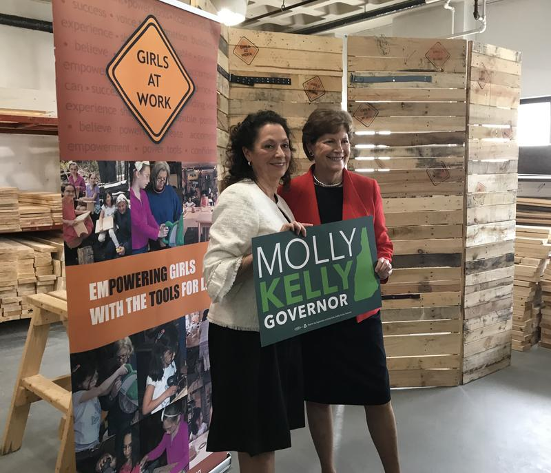 Molly Kelly, a Democrat running for N.H. governor, receives the endorsement of Sen. Jeanne Shaheen on May 2, 2018.
