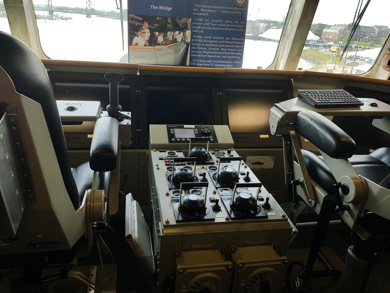 These are the controls navigators use in what's called the bridge of the ship. Behind the navigator sits the officer of the deck, who drives the ship.