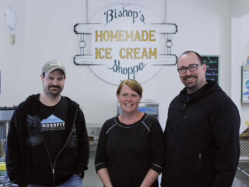 From Left to Right: Stephen Pilgrim, Jade Walker, and Dan Walker of Bishop's Ice Cream. They, along with Kasie Pilgrim, are the new owners of Bishop's Homemade Ice Cream.