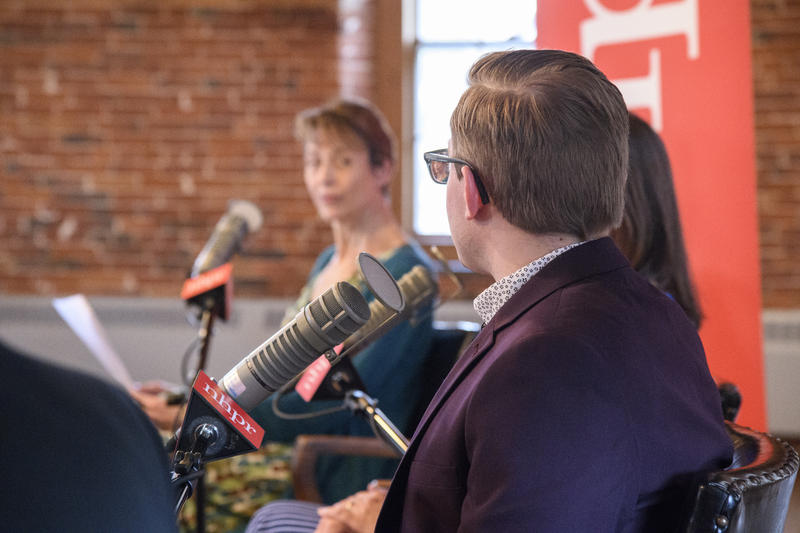 Host Laura Knoy listens to a guest on The Exchange taping at the Belknap Mill.