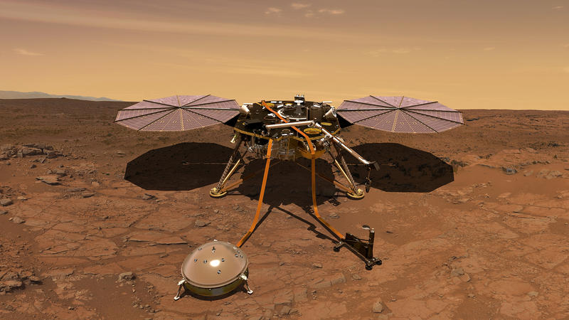 An artist's rendition of the InSight lander operating on the surface of Mars