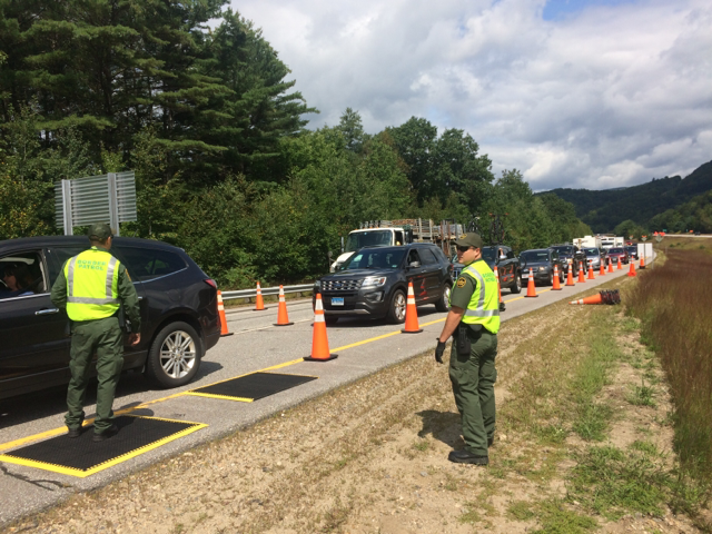 A checkpoint on Interestate 93 in New Hampshire in 2017.