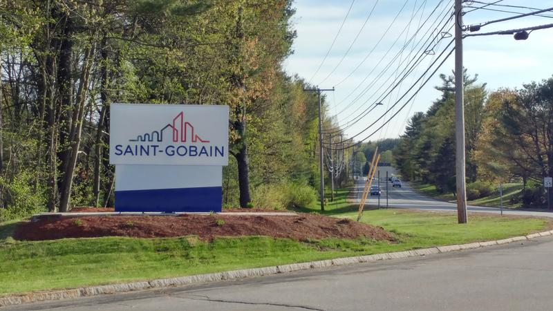 A sign marks the Saint Gobain plant in Merrimack