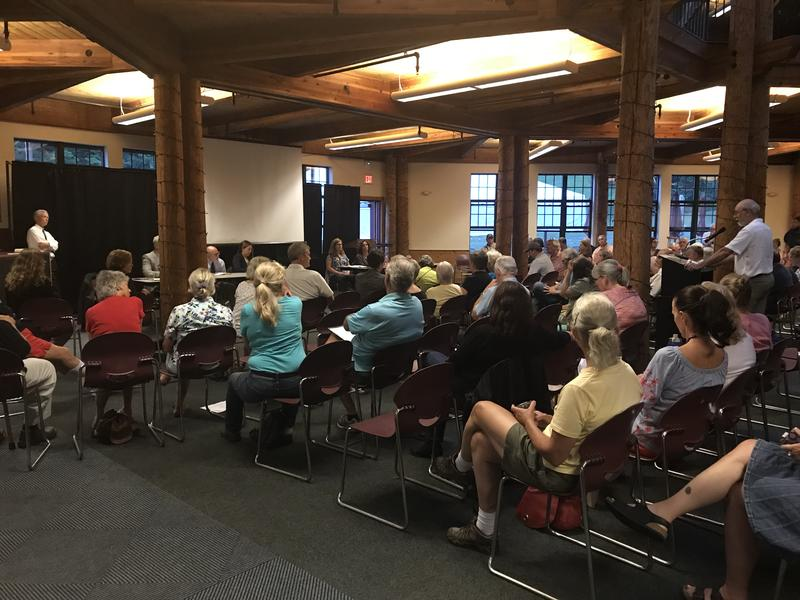 More than 100 people packed Sunapee Lodge Wednesday night for a public information session on proposed state park lease transfer