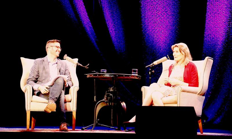NHPR's Peter Biello and author Jennifer Egan at the Music Hall in Portsmouth