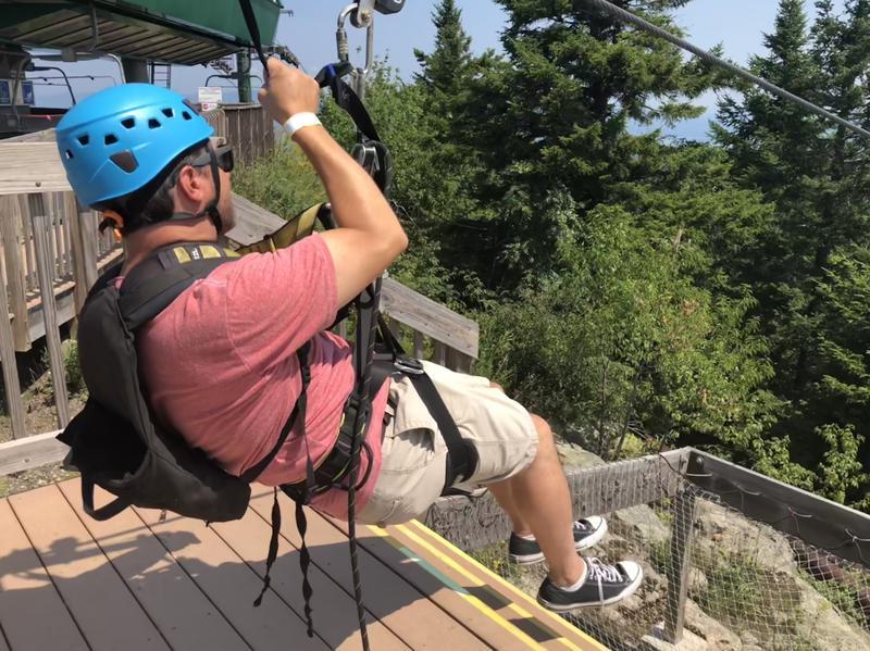 Morning Edition Host Rick Ganley goes ziplining at Gunstock Mountain in Gilford.